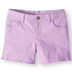 Pants - NWT - Girl's Purple Denim Fray Hem Shorts.